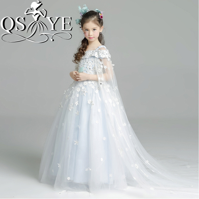 c0706cce8f2 2017 New Princess Ball Gown Flower Girl Dresses Off the Shoulder 3D Floral  Appliques Beaded Tulle Girls Holy Communion Dress