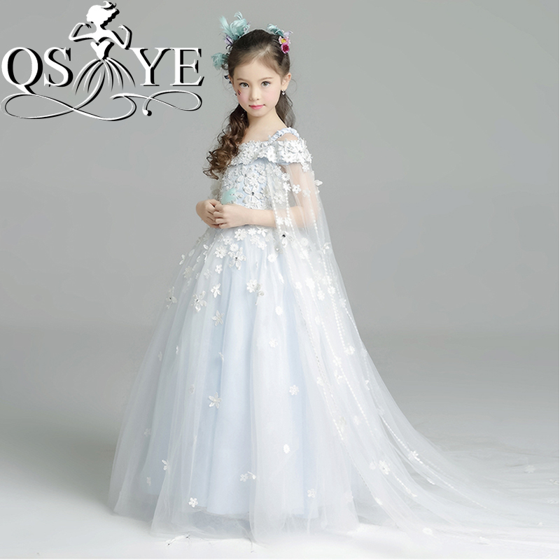 2017 New Princess Ball Gown   Flower     Girl     Dresses   Off the Shoulder 3D Floral Appliques Beaded Tulle   Girls   Holy Communion   Dress