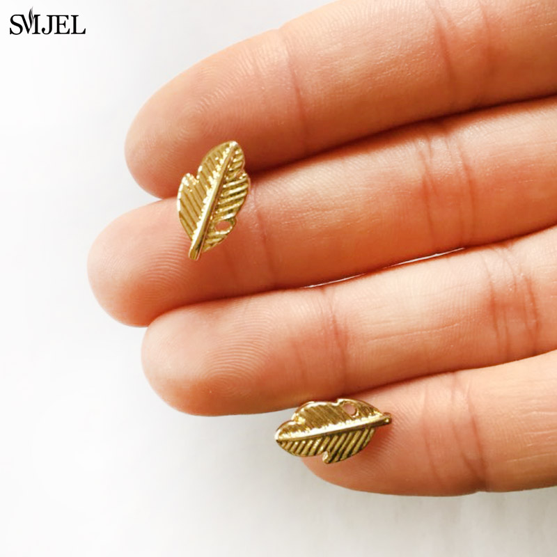 SMJEL New Bohemian Punk Leaf Earrings For Women Vintage Feather Stud Earring Femme 2019 Jewelry Party Gift Boucle D Oreille