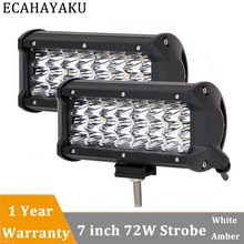 ECAHAYAKU 2pcs 7 Inch 72W Work Light Led Spot light 24v Bar Auto Assembly for Motorcycle Driving Offroad Boat Car Tractor Truck