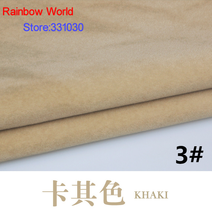3# khaki Flocked flocking Fabric for sewing DIY skirt coat Sofa Pillow Mattress Cushion Toys Bags materia (<font><b>150*100</b></font>) image