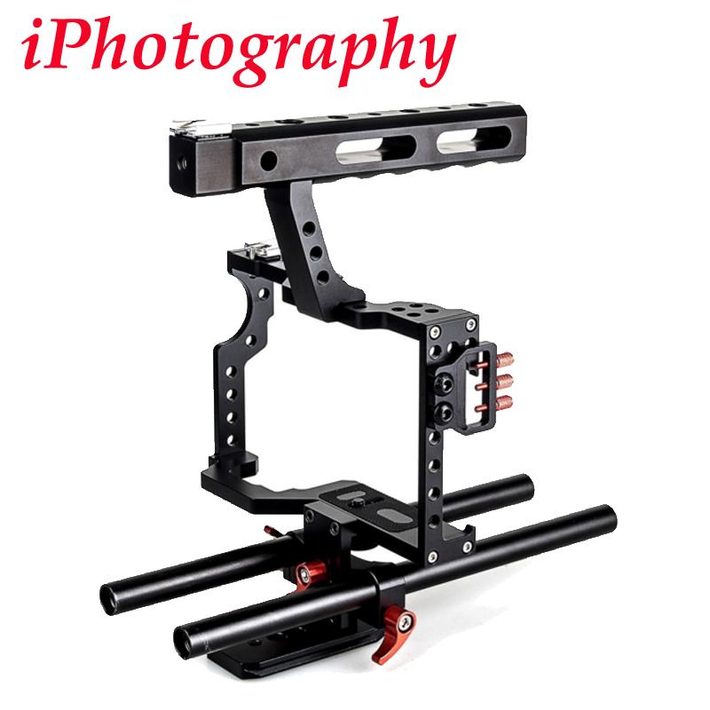 Prix pour DSLR Rod Rig Caméra Vidéo Cage Kit & Poignée Grip CS-V5 pour Sony A7 A7r A7s II A6300 A6000 Pour Panasonic GH4