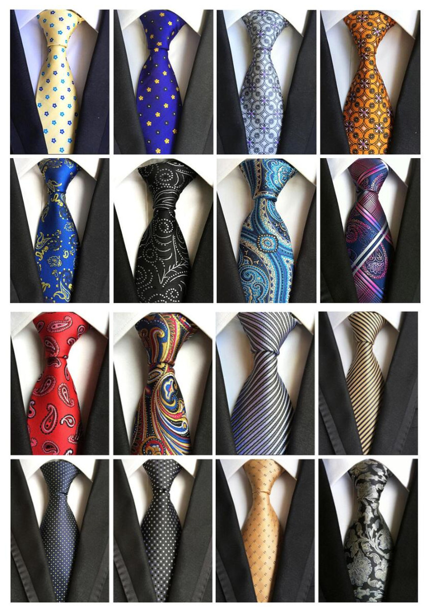 Fashion Classic Paisley Polka Dot Pink Blue Yellow Black Red Gray Jacquard Woven 100% Silk Floral Checked Geometric Stripe Tie