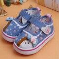 Lindo de la historieta del bebé zapatos de las muchachas precioso nudo mariposa de la lona zapatos de bebé girls prewalkers inferior suave primeros caminante niñas