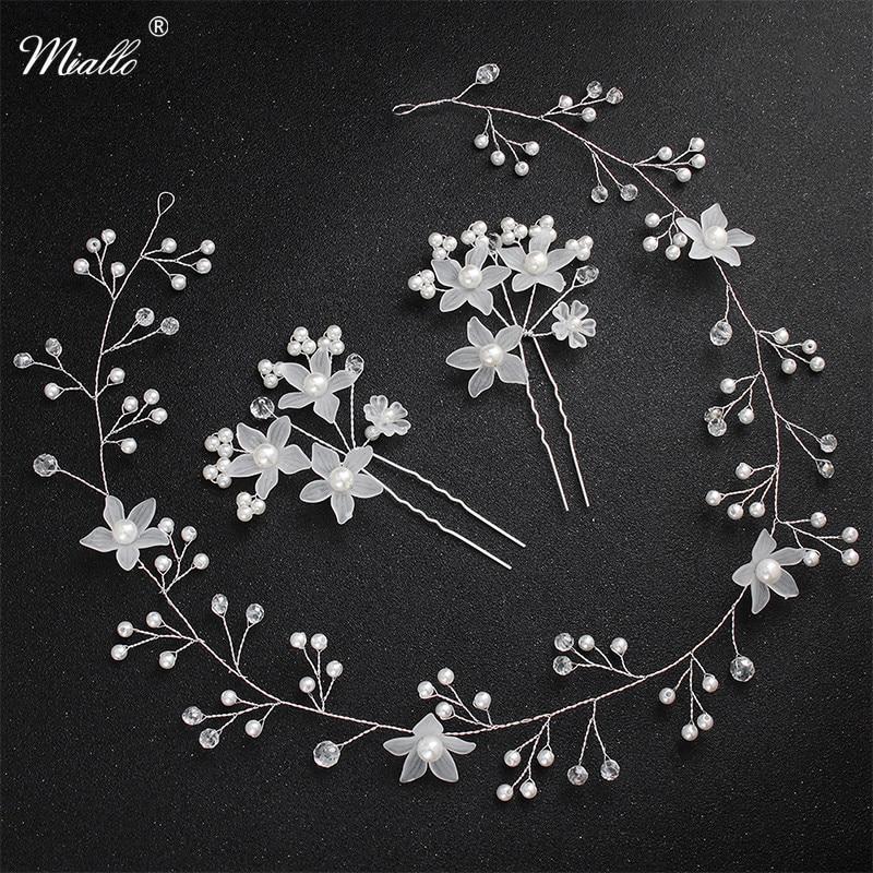 Miallo Fashion Flower Wedding Hair Accessories Headband + 2pcs Hairpins Clips Bridal Headpieces Headwear for Women