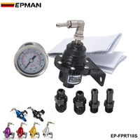 EPMAN Black Blue Sport Type S Adjustable Fuel Pressure Regulator FPR Universal JDM Turbo Liquid Gauge