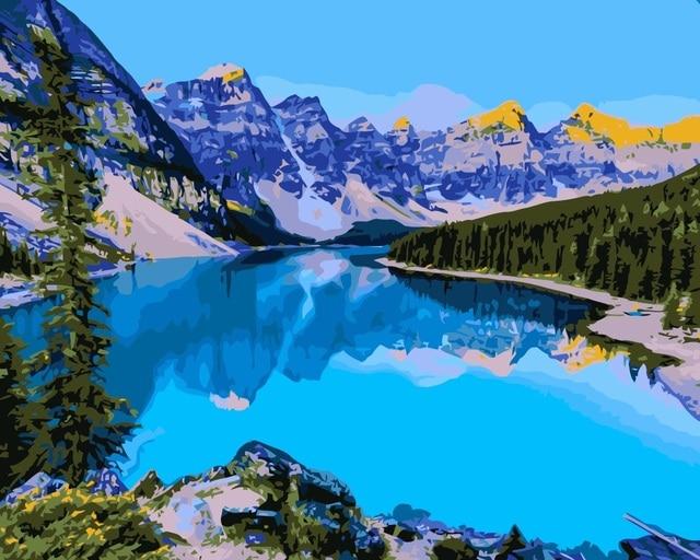 Landscape Dari Danau Dan Pegunungan Mahuaf I044 Mewarnai By Numbers