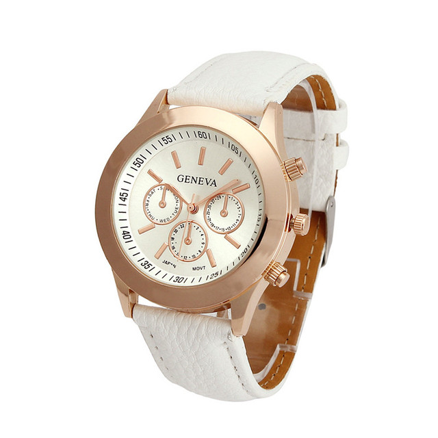 New Arrival Casual Neutral Men Women Watches Casual Geneva Faux Leather Strap Qu