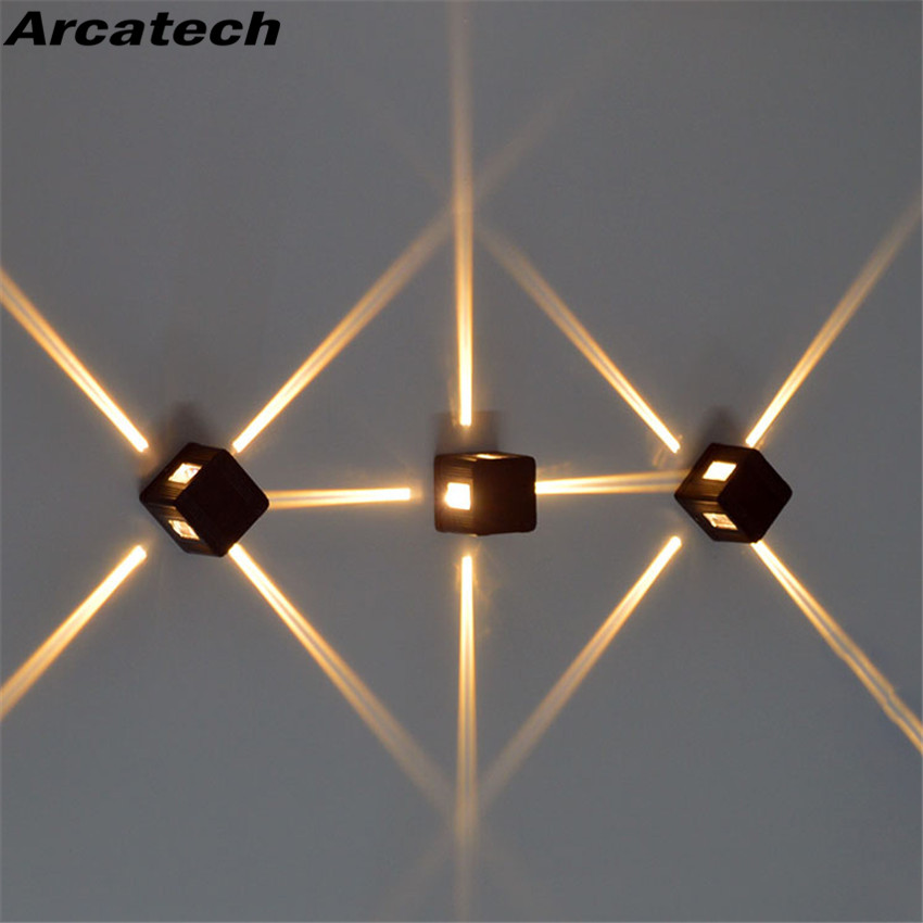Led Lamps Cooperative Ip65 Waterproof Square Wall Light Led Spot Light Cross Star Lamp Facades Lighting Night Lighting Engineering 4pcs /lot Nr-129 With The Best Service