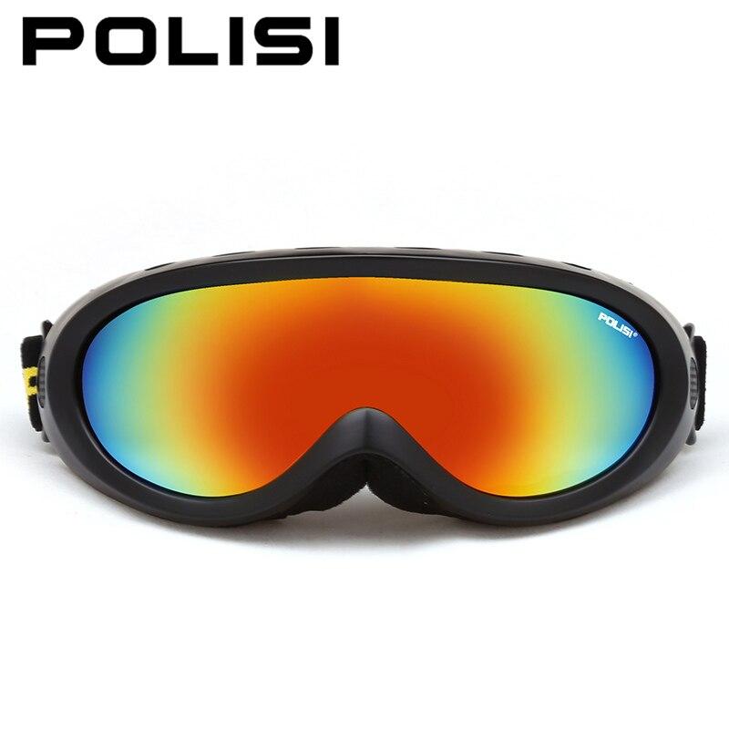 Prix pour POLISI Hommes Femmes Hiver Ski Lunettes Sports De Plein Air Motoneige Snowboard Skate Neige Lunettes UV400 Anti-Buée Ski Lunettes