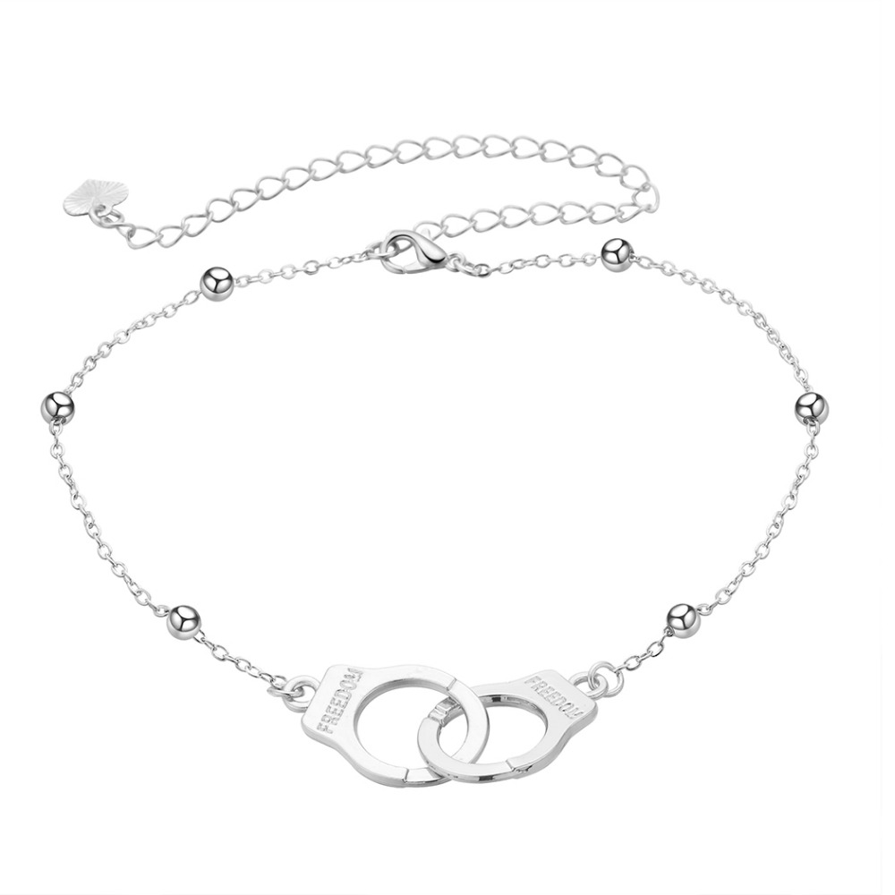 Chereda Anklets Handcuffs Rose Silver Color Alloy Bracelet Foot Fine Jewelry For Women Lock Shape Valentine 39 s Day Accessories in Anklets from Jewelry amp Accessories