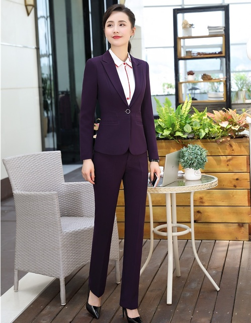 New 2018 Purple Blazer Women Business Suits Formal Office Suits Work Wear  Ladies Pant and Jacket Sets Elegant 40f3346853
