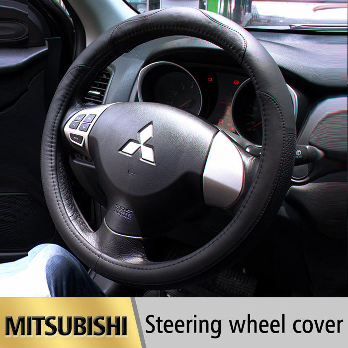 Leather Car Styling Steering Wheel Cover For Mitsubishi Outlander 2016 ASX Lancer EX 10 L200 Colt Pajero Sport Auto accessories