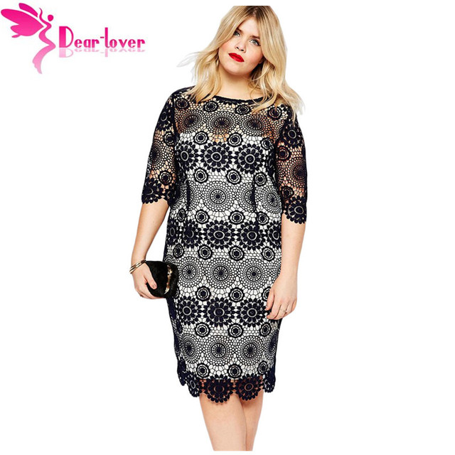 Dear Lover Elegant Loose Big Women Clothing Plus Size Half Sleeve Black Lace  Crochet Sleeved Pencil Dress Vestido Renda LC61064 41faf87b9444