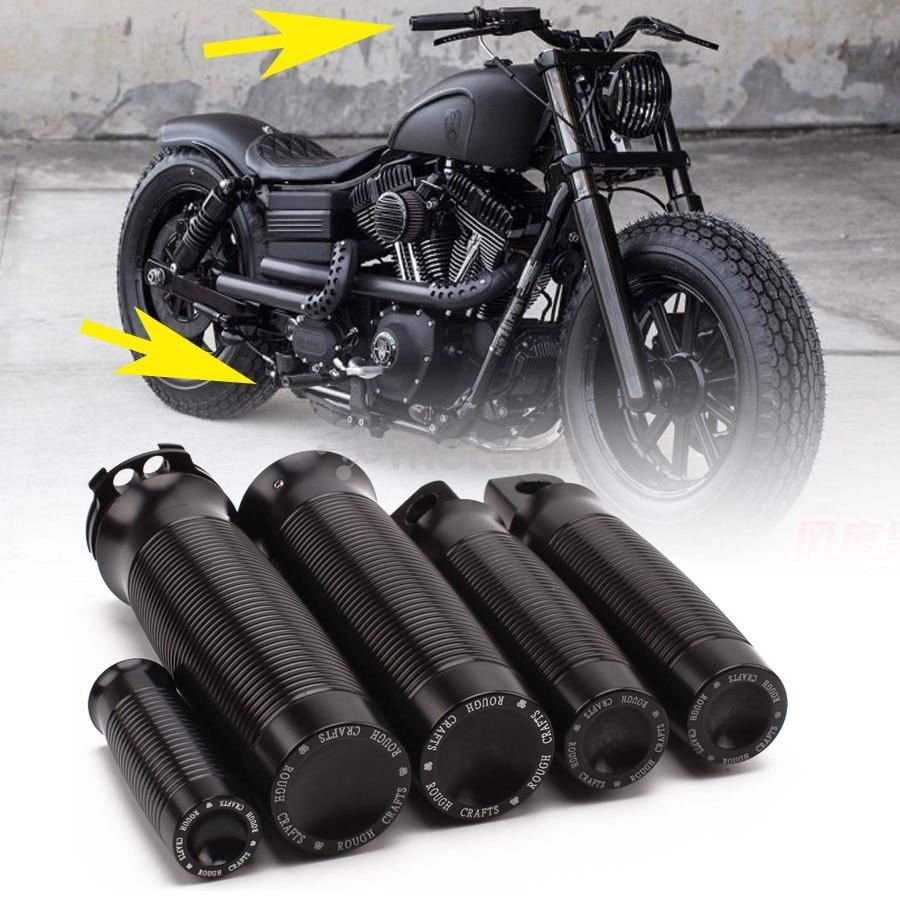 1set Motorcycle Black Aluminum Footrest+ Shifter Peg+Handle Grips For For Harley DUAL CABLE MODELS Custom Cafe Racer