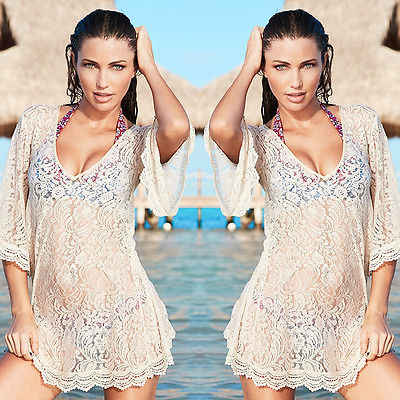 Sexy women lace crochet swimsuit bikini swimsuit cover up summer beach dress wholesale visor cloak Cover-Ups