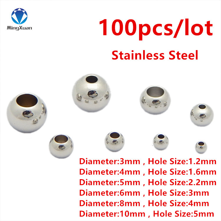 100pcs/lot 3/4/5/6/8/10mm Silver Stainless Steel Spacer Beads Ball with Big Hole 1.2-5mm Fits for Charm Bracelets Jewelry Making