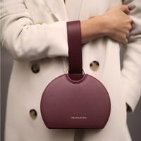 Retro Fashion Semi circular Women Handbag shoulder messenger bag Pu Leather Female Bag Wrist Bag Dinner Clutch Lady Hand Bag