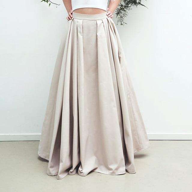 9e3046f5f49d Simple Modest Long Satin Skirts For Women With Pockets Zipper Style Elegant Floor  Length Skirt Female Adult Skirt Pleated