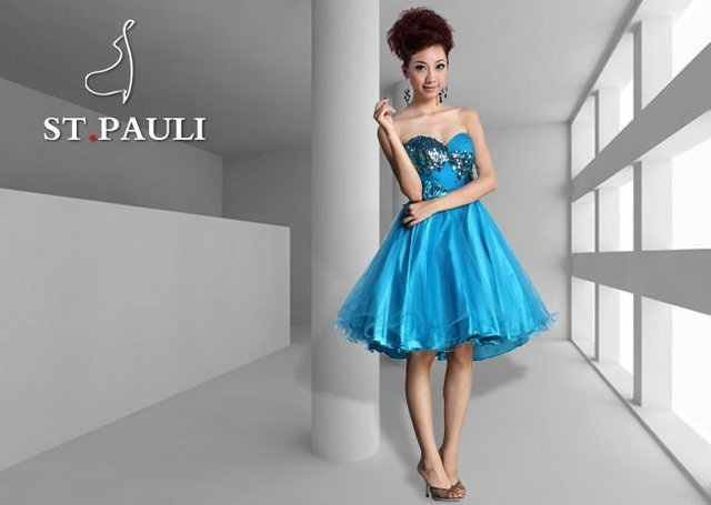New Stunning Short Prom Evening Dress/Baby Doll/wired edge mini tulle skirt/laser sequin sweetheart strapless empire bodice