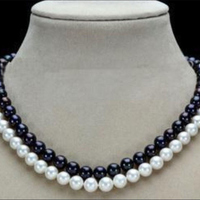 Charming 2 Row 7 8mm Black White Freshwater Cultivation Round Pearl Trendy Gems Diy Necklace 17
