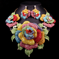Novos Conjuntos De Jóias de Noiva Colar de Casamento Brinco Para Noivas Acessórios Do Partido Banhado A Ouro Flores Grandes Decoração Dom Mulheres