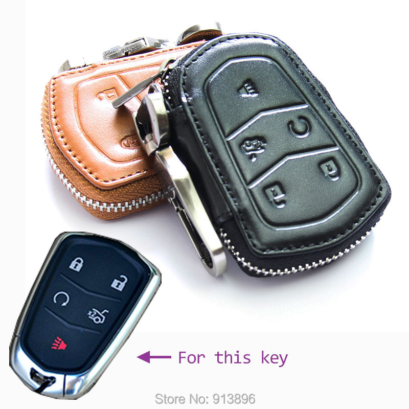 Abs Smart Remote Key Case Ring Shell Holder Cover For: Leather Car Key Case Fob Cover For Cadillac CTS ATS L5