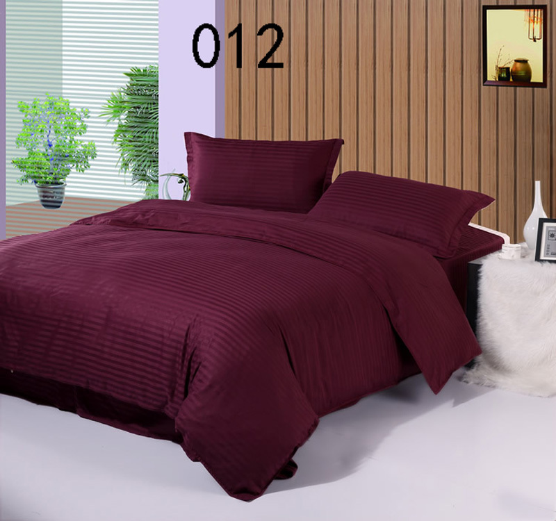 Deep Purple Cotton Satin Stripe 4pcs Bedding Sets