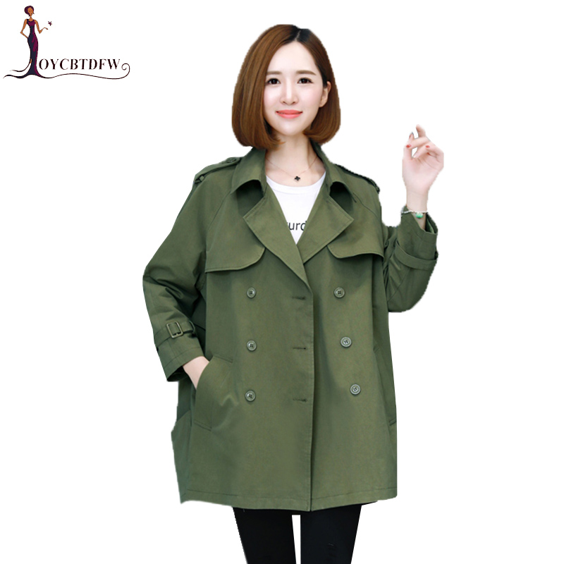 Women double-breasted   trench   coat large size S-3XL mediun long spring outerwear 2018 new loose female casual Windbreaker xy330