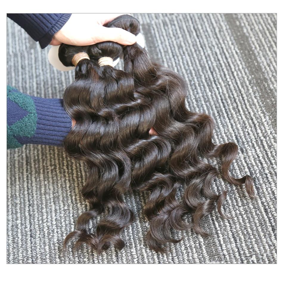 Rosabeauty Hair 3 Bundles Deal 10A Natural Color Indian Virgin Hair Loose Deep Wave Bundle 100% Human Hair Extension 10- 28 Inch