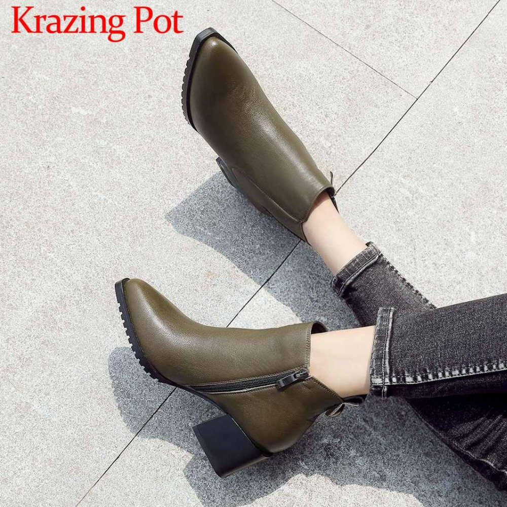 New fashion oxford pointed toe british style chelsea boots square med heels zip plus size solid european style ankle boots L2f1 цена