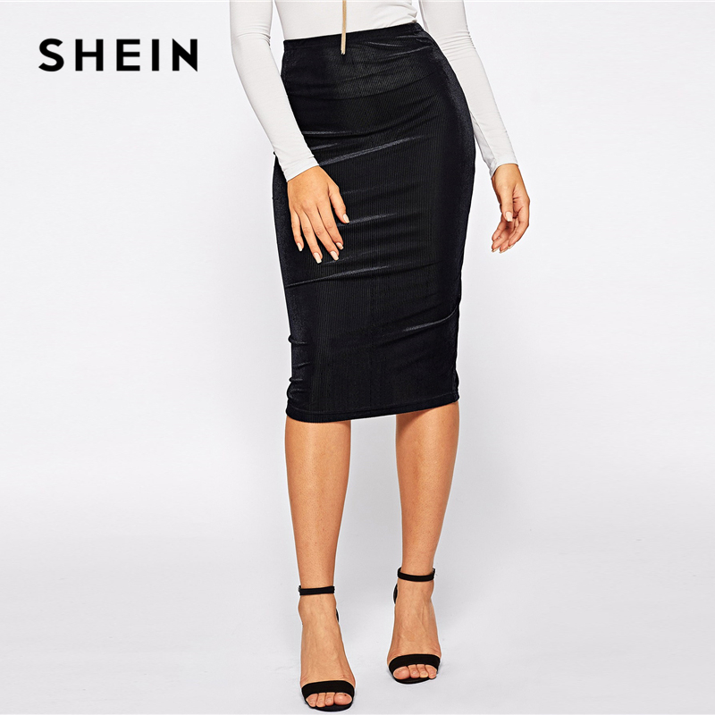 SHEIN Black Elastic Waist Rib-Knit Solid Knee Length Mid Waist Bodycon Pencil Skirt Women Autumn Elegant Office Ladies Skirts