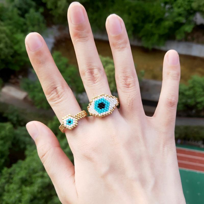 FAIRYWOO Miyuki Ring Jewelry Beaded Turkey Evil-Eye Boho Handmade Delica Lucky Party