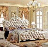 Твердая деревянная кровать Мода Европейский Французский Резные кровати 1.8 м кровать 4747