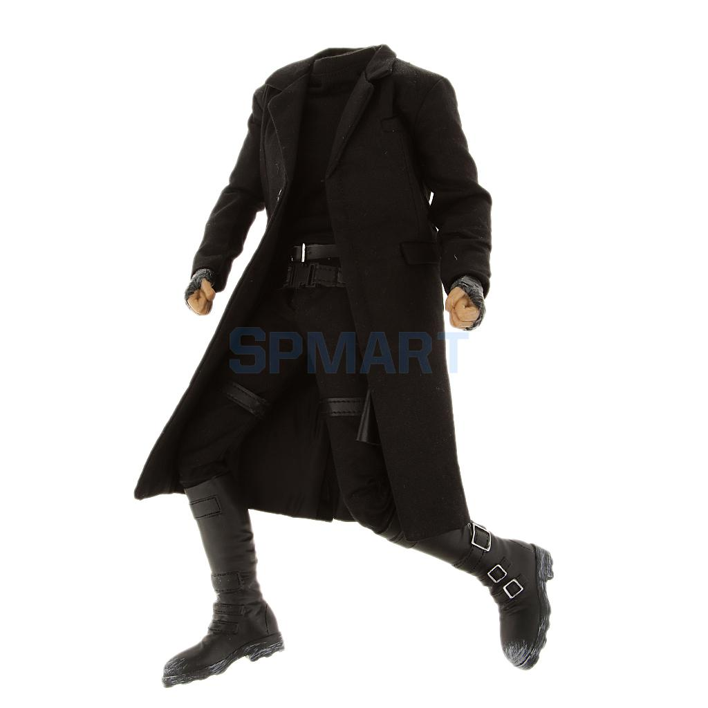 1/6 Scale Male Body Figure With Black Long Coat Pants Boots Extra Hands Display Stand fit Hot Toys Head Sculpt tomorrowland пиджак