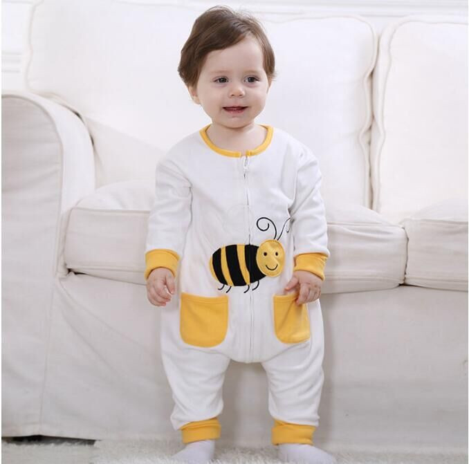 Androktones Newborn Infant Baby Clothes Pure Cotton Lovely Bees Romper Hooded Jumpsuit Onesie Cosplay Boys Girls Spring Costume
