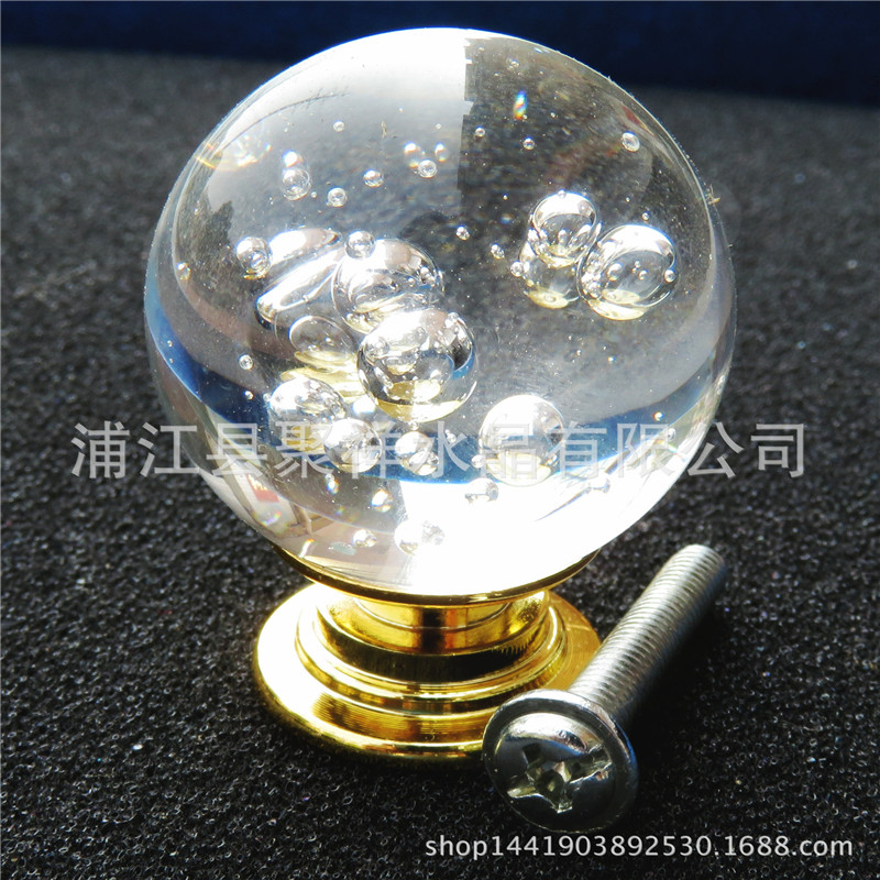 Hot Selling Glass Ball Handshake 38mm 39g Furniture Hardware Handle Crystal Aluminum Bedroom Kitchen Drawer Handle