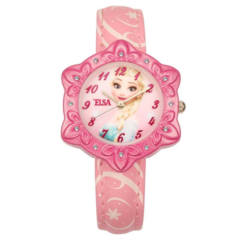 Children's Watches Disney brand Frozen children girls watches leather quartz clocks ELSA princess waterproof student wristwatch