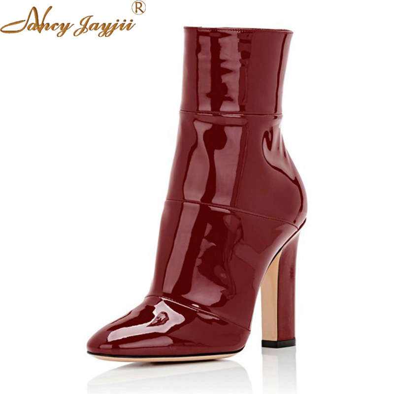 Retro Dark Red Supperstar Womens Leather High Square Heel Handmade Mid-Calf Boots Side Zipper Autumn Casual Shoes Zapato Mujeres