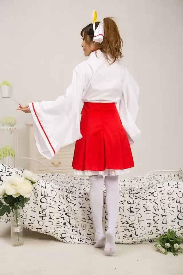 Косплей костюм дамы аниме лиса X слуга SS белый призрак бабочка Cos Atavistic кимоно Мико костюм в стиле Косплей