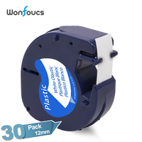 Dymo LetraTag Plastic Tape LT 91331 59422 91221 91201 30 Pack/lot Compatible Black on White Ribbons For dymo Label Printer