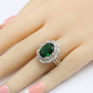 Image 2 - Green Crystal Silver Color Bridal Jewelry Sets For Women Necklace Pendant Bracelets Earrings Rings Gift Box