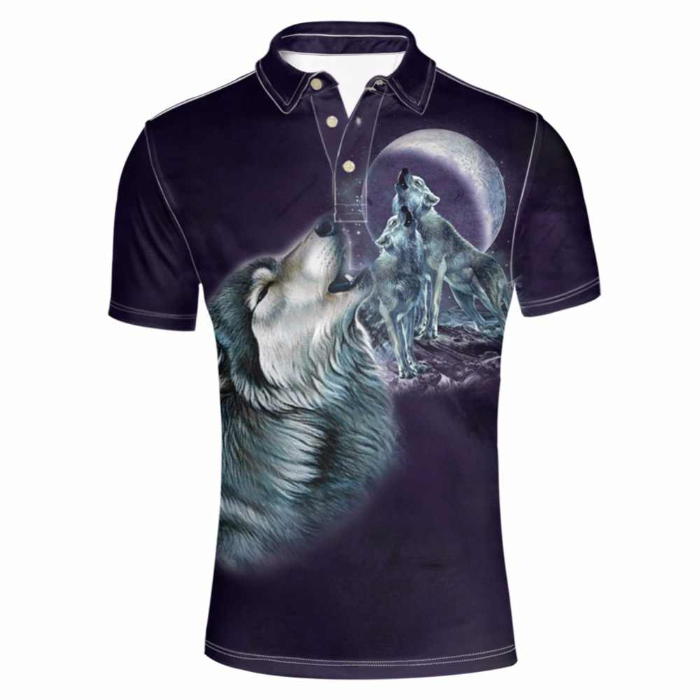 FORUDESIGNS Men Shirts Short Sleeve 3D Moon Wolf Short Sleeve Shirt Men's Tops Tees Boss Casual Clothing Male Fashion Plus Size