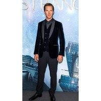 Black Velour Jacket Vest Set Slim Fit Men Suit 3 Pieces Casual Groomsmen Groom Tuxedo Velvet Prom Men Suits(Jacket+Pants+Vest)