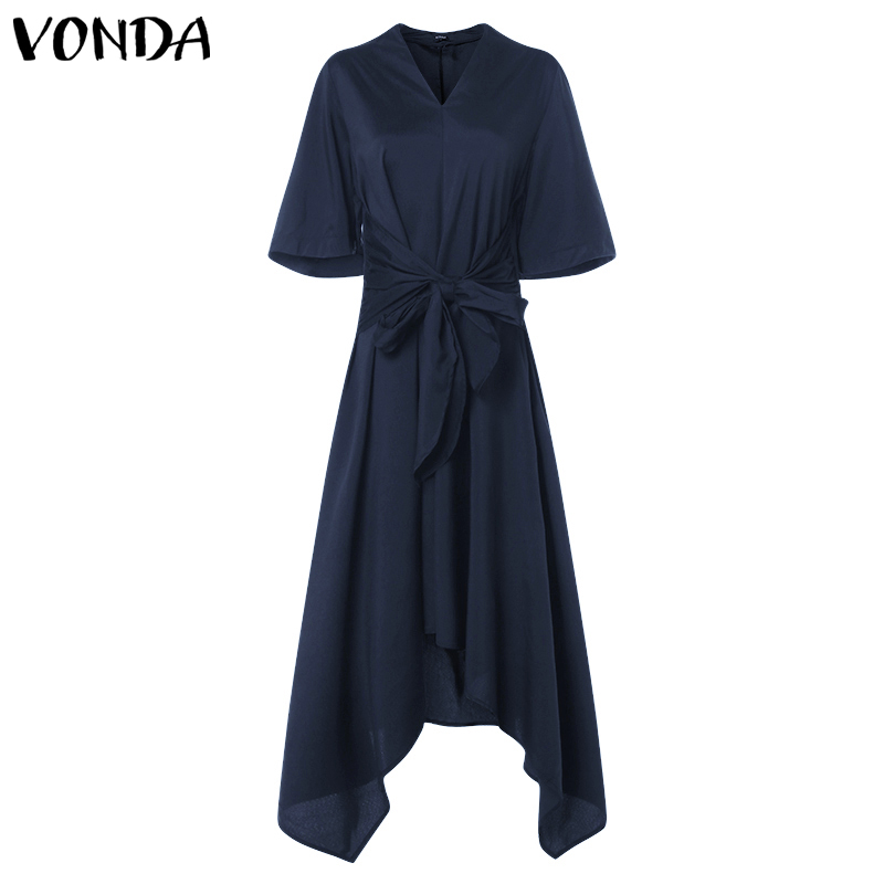 V Neck Summer Dress Fashion Women High Waist Party dress