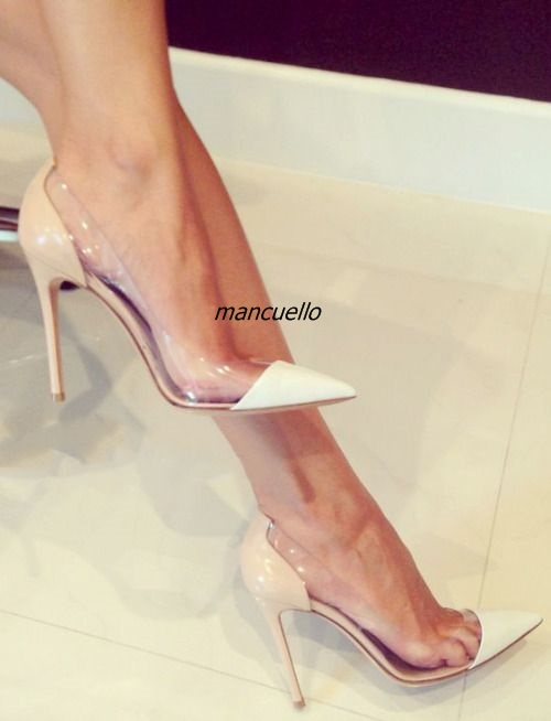 Fancy White Color Matched Slip-on Heels Women Sexy Clear Side Pointy Stiletto Heel Pumps Trend Fashion Shoes Celebrities in Same