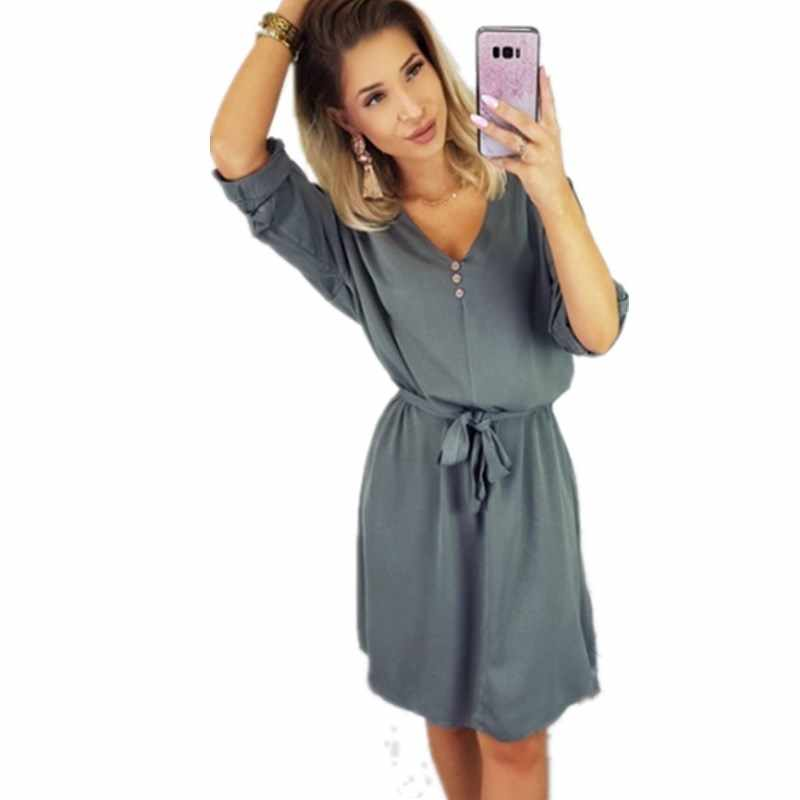 New Casual Spring Summer Mini Dress Sexy Half V Neck Solid Sashes Button Dresses Fashion Bow Tie Bandage Belt Short Dress Female