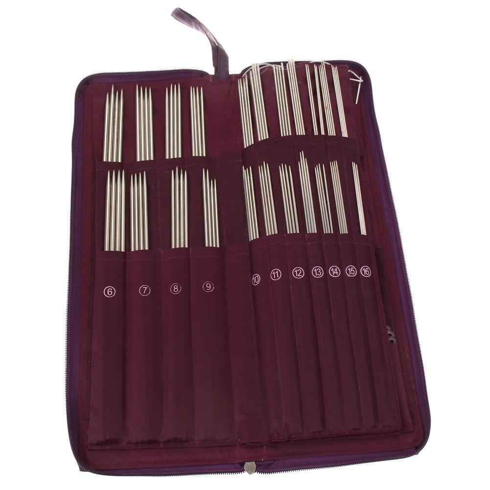 104pcs Knitting Needles 20 түрлі мөлшерде баспайтын болаттан Straight Circular Tail Weave Needles Crochet ілмектер Knitting Bag
