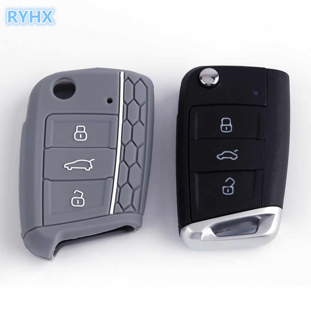 Trusted Brand RYHX 2019 Hot sale soft Silicone 3 buttons car key cover case for Volkswagen Golf 7 mk7 Skoda free shipping