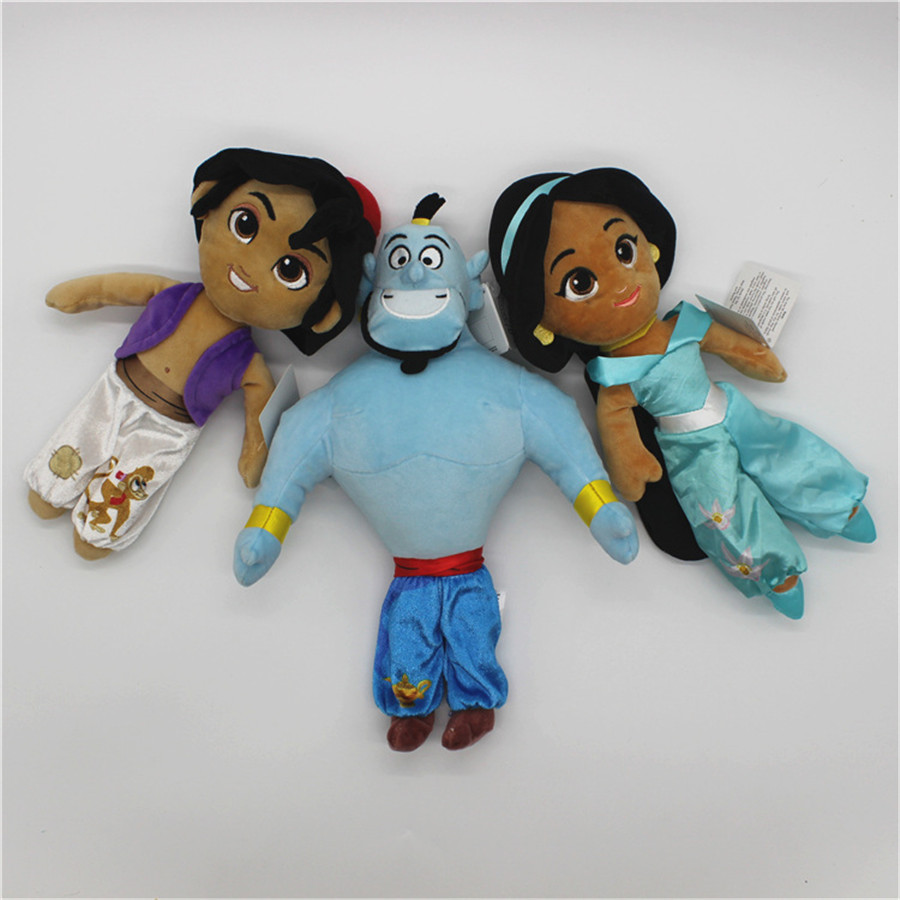 1pcs Original 28-30cm Aladdin And The Magic Lamp Collecition Figure Toys Aladdin Jasmine Princess Stuffed Plush Soft Toys